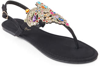 Twisted Rhinestone Embellished T-Strap Sandals