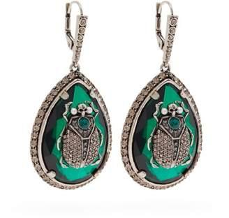 Alexander McQueen Beetle Crystal Embellished Earrings - Womens - Green