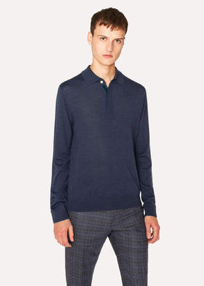 Paul Smith Men's Slate Blue Merino Wool Long-Sleeve Polo Shirt
