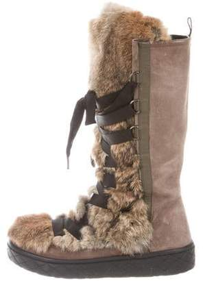 Moncler Suede Mid-Calf Boots