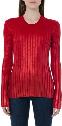 Dondup Red Ribbed Blend Wool Knitwear