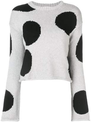Derek Lam 10 Crosby Cropped Polka Dot Sweater