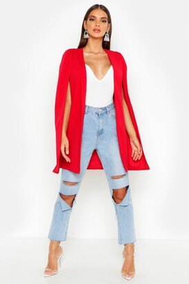 boohoo Longline Tailored Crepe Cape