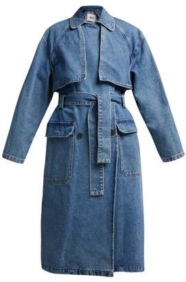 Msgm - Oversized Denim Trench Coat - Womens - Denim