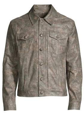 John Varvatos Shank Button-Front Leather Jacket