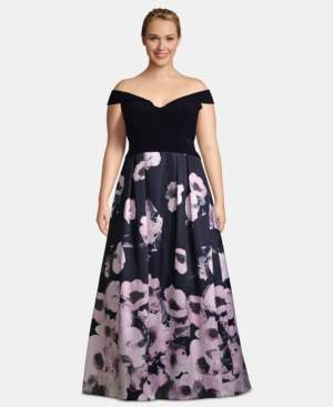 Xscape Evenings X by Plus Size Off-The-Shoulder Floral-Print Gown