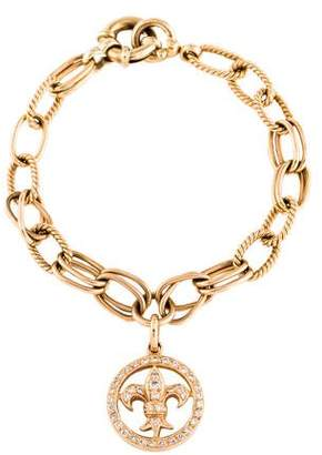 18K Diamond Fleur de Lis Charm Bracelet