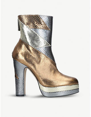 Terry De Havilland Aria metallic snake-effect leather boots