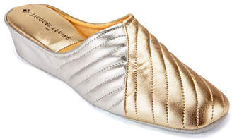 Jacques Levine Two-Tone Metallic Quilted Slippers