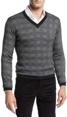Brioni Men's Cashmere Plaid V-Neck Sweater