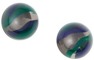 Burberry Marbled Resin Palladium-plated Sphere Earrings