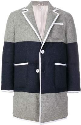 Thom Browne Bicolor Down-Filled Sack Fit Wool Overcoat