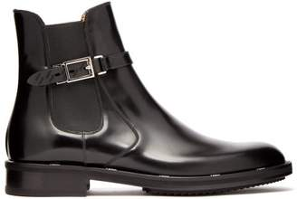 Fendi Buckled Leather Chelsea Boots - Mens - Black