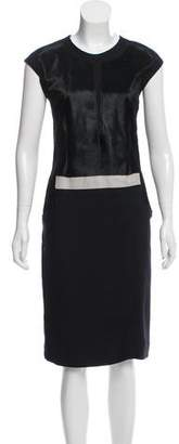 Helmut Lang Fur-Accented Midi Dress
