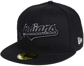 New Era Cleveland Indians Black and White Fashion 59FIFTY Fitted Cap