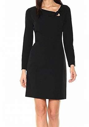 Anne Klein Women's Bow Front Crepe Long Sleeve Dress