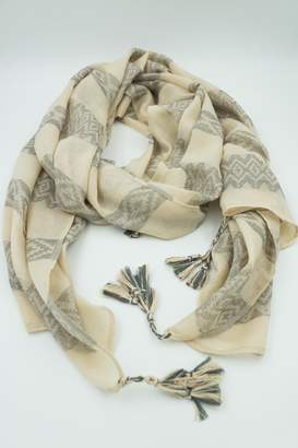 Embellish Ivory Tassel Scarf