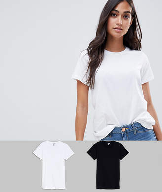 Asos DESIGN Petite ultimate crew neck t-shirt 2 pack SAVE