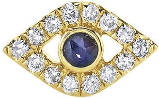 Sydney Evan Sapphire Bezel Evil Eye Single Stud Earring - Yellow Gold
