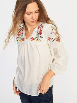 Old Navy Relaxed Floral-Embroidered Blouse for Women