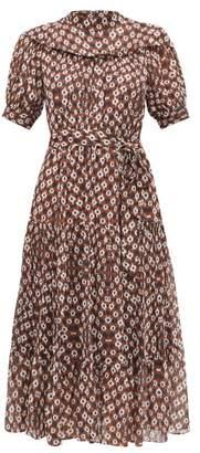 Sea Alha Print Crepe De Chine Dress - Womens - Brown