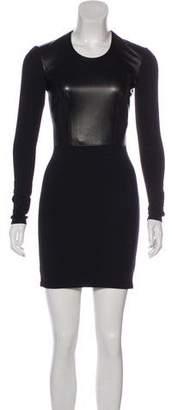 Helmut Lang HELMUT Leather-Accented Mini Dress