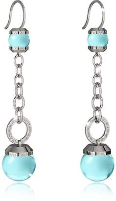 Rebecca Hollywood Stone Rhodium Over Bronze Dangle Earring w/Turquoise Hydrothermal Stone