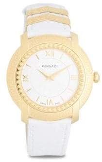 Versace Polished Stainless Steel Leather-Strap Watch