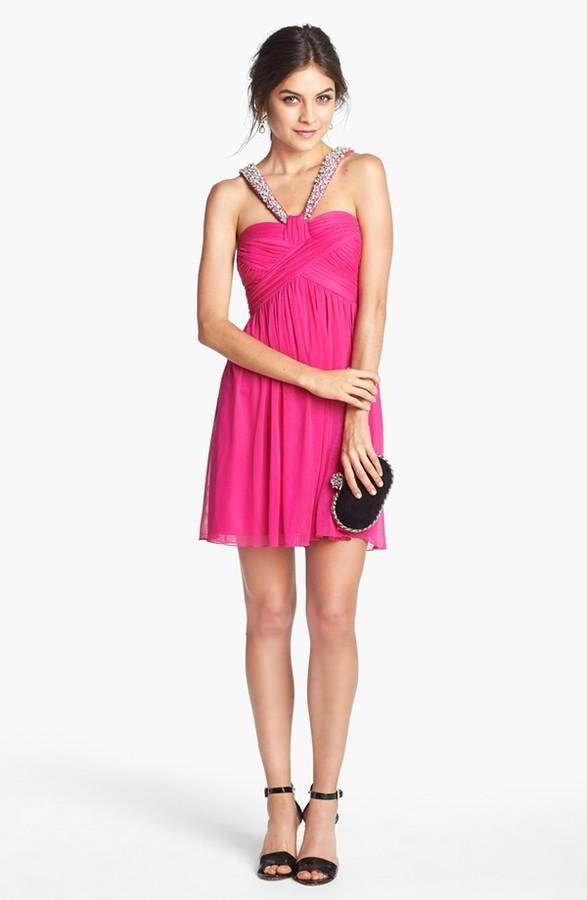 Way-In Embellished Pleat Bodice Dress (Juniors)