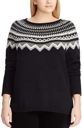 423440ccfe2 Chaps Plus Size Fairisle Boatneck Sweater