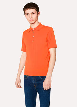 Paul Smith Men's Orange Knitted Cotton Polo Shirt With Contrasting Placket Detail