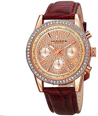 Akribos XXIV Women's AK871BUR Crystal Accented Two Time Zone Pave Dial Rose Tone and Leather Strap Watch