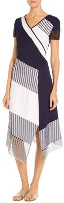 St. John Technical Welted Color Block Knit Asymmetric Dress
