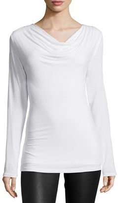 Majestic Paris for Neiman Marcus Soft Touch Draped Long-Sleeve Top $135 thestylecure.com