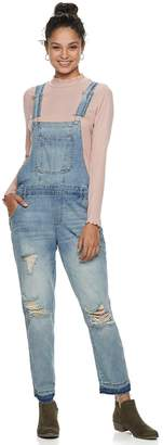 Almost Famous Juniors' Mid-Rise Destructed Overalls