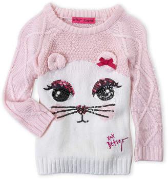 Betsey Johnson Toddler Girls) Sequin Cat Face Sweater