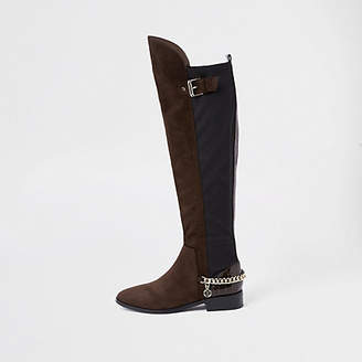 River Island Womens Brown over the knee chain boots