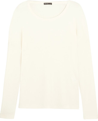 James Perse - Waffle-knit Stretch-jersey Top - Ivory $195 thestylecure.com