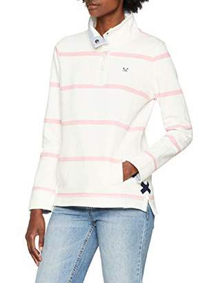 Crew Clothing Women's Pastow Pique Sweat Sweatshirt, (White Linen & Pure Pink)