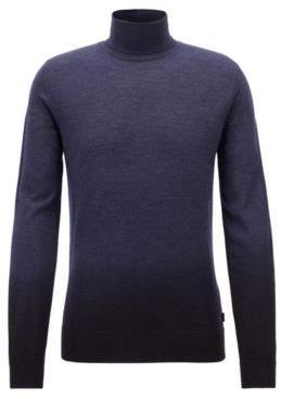 BOSS Hugo Dip-dyed turtleneck sweater in virgin wool silk M Open Blue