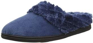 Dearfoams Women's Velour Clog with Quilted Pile Cuff and Memory Foam Low-Top Slippers,9-10 UK (42-43 EU)