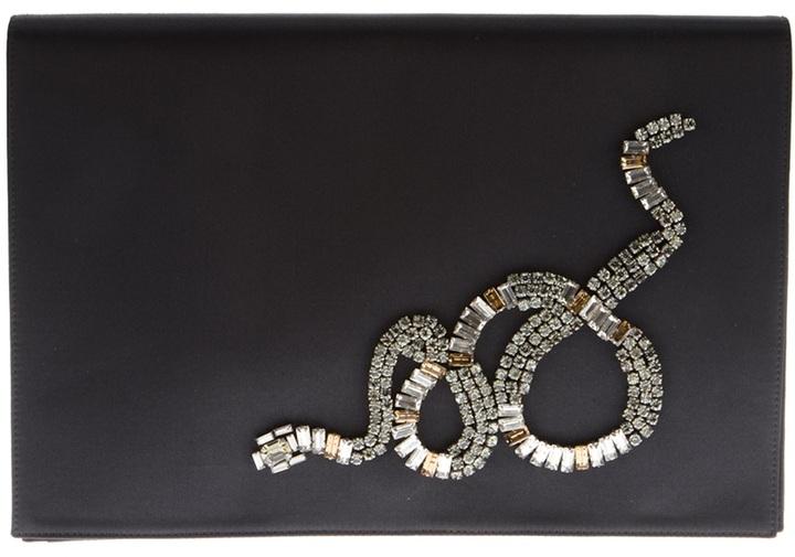 Roberto Cavalli embellished snake clutch