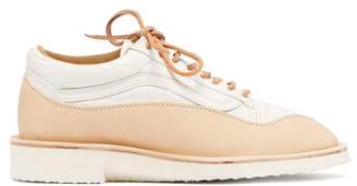 Peterson Stoop - Wavey Recycled Low Top Leather Trainers - Womens - Tan White