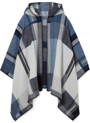 Holzweiler - Coley Hooded Checked Wool And Cashmere-blend Poncho - Gray