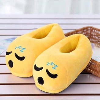 JuJu Smiling Cute Sleepy Emoji Sleep Slippers Plush Cotton Soft Warm Comfortable Indoor Bedroom Shoe For Big Kids & Women With Non-Skid Footpads
