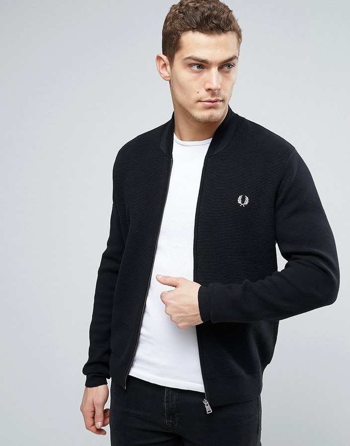 Fred Perry Fred Perry Bomber Neck Cardigan in Navy