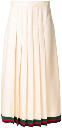 Gucci pleated midi skirt with Web trim