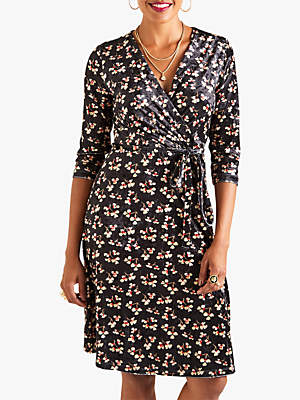 Yumi Velvet Floral Print Dress, Black