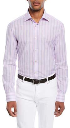 Kiton Multi-Stripe Cotton/Linen Sport Shirt