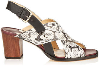 Jimmy Choo AIX 65 Natural Mix Vachetta Leather and Elaphe Strap Sandal